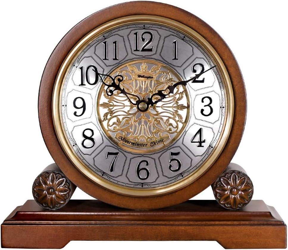 Aa.置き時計 ヨーロッパスタイルのリビングルームソリッドウッド置時計クリエイティブ時計レトロな装飾のベッドサイドミュート時計