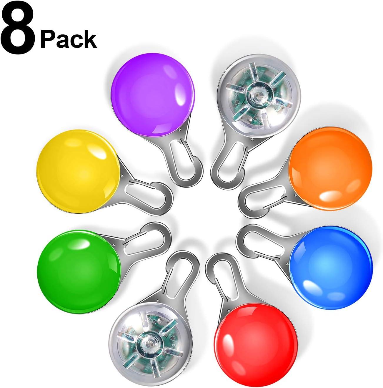 Collar Luces LED, Yosemy 8pcs Clip-On Pet Luz Luminoso de Noche Impermeable Luces de Colores de Seguridad con Etiquetas de Identificación para Perros y Gatos para La Noche Caminar