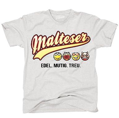 Siviwonder Unisex T-Shirt MALTESER - OLD SCHOOL SCHRIFT Hunde ash S