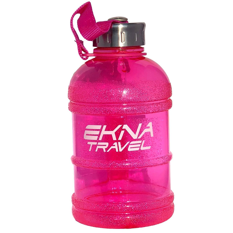 Botella EKNA   1 litro   Botella de agua   Botella de agua   Galón de agua   Ideal para las necesidades diarias de agua   Para la vida cotidiana, la forma física o los viajes   BPA gratis   Con indicador de nivel (Rosa 1000ml)
