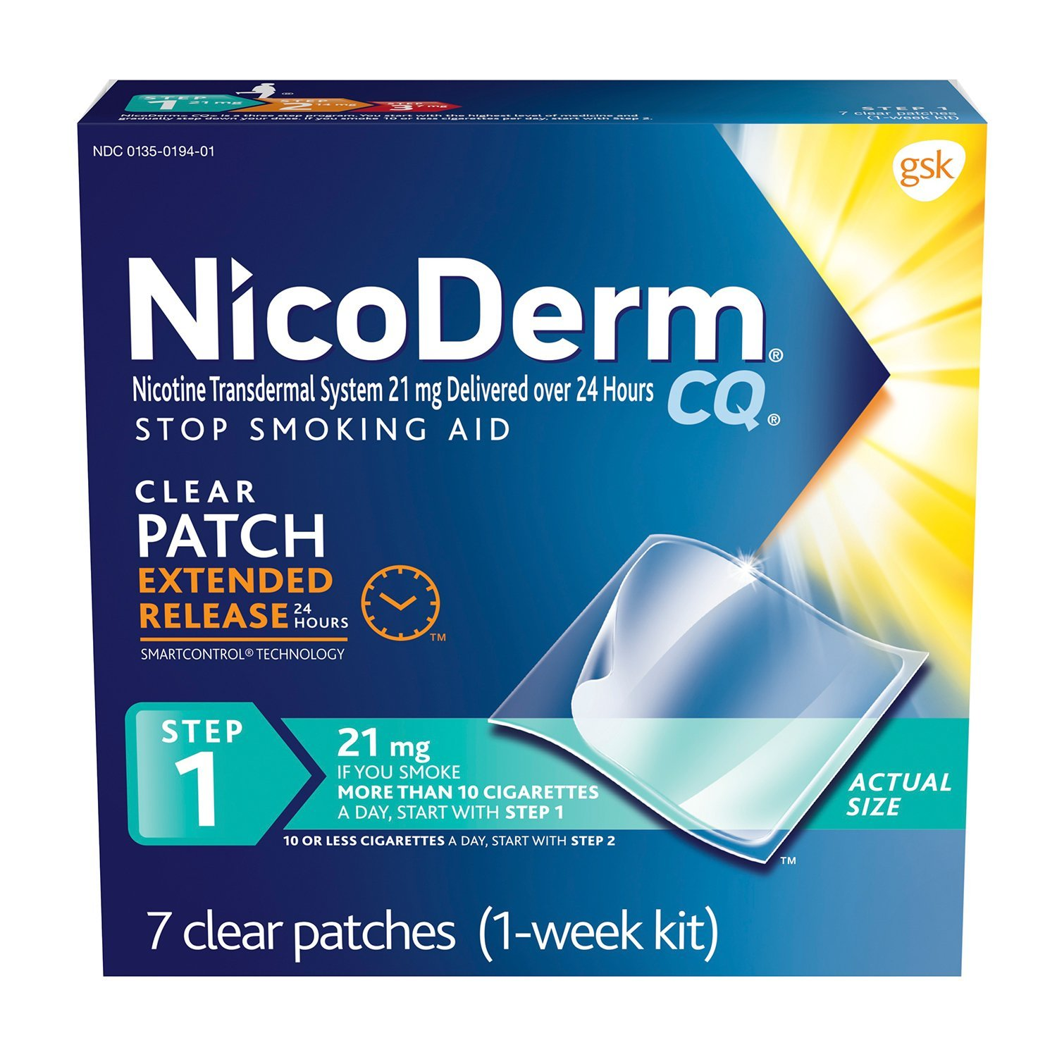 NicoDerm CQ Stop Smoking Aid 21 milligram Clear Nicotine Patches for Quitting Smoking, Step 1, 7 Count-Pack of 12
