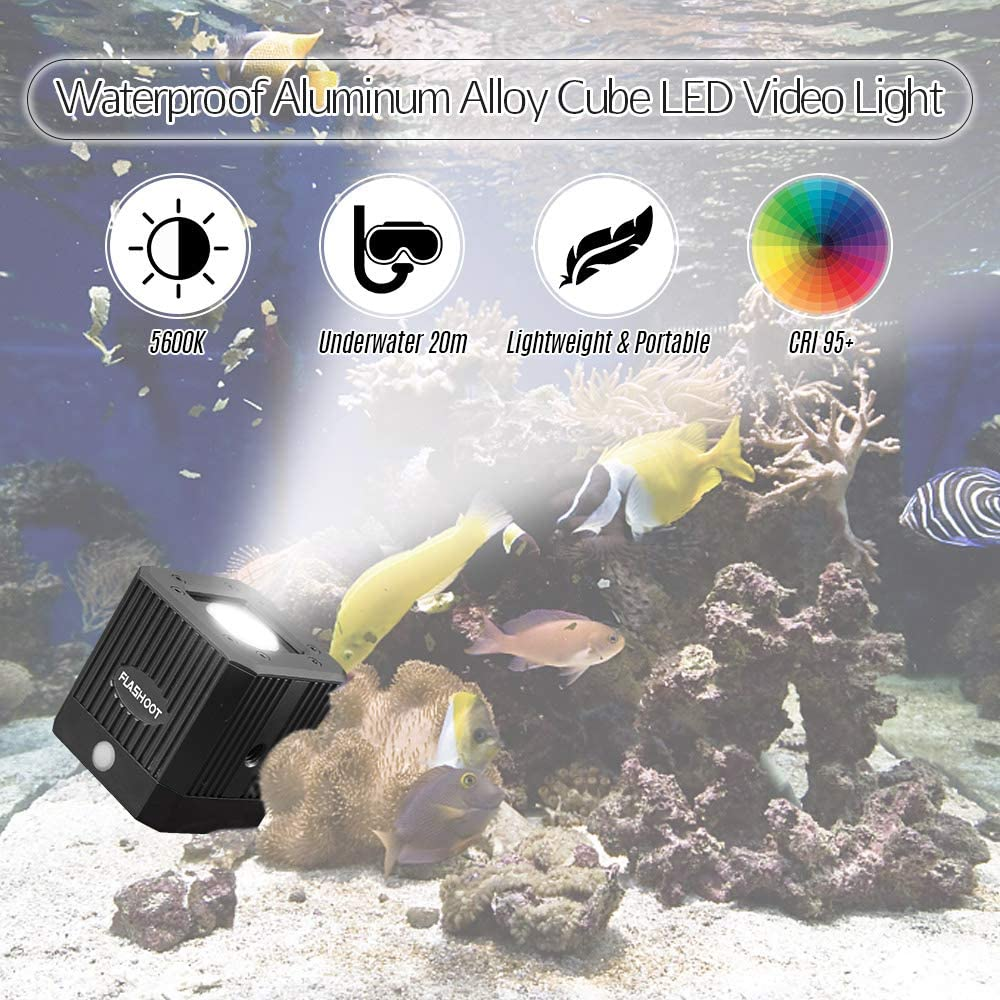 مصباح فيديو LED من Andoer من سبيكة الألومنيوم المقاوم للماء 5600K غوص ملء ضوء ستروب فلاش مع ثقب لولبي 1/4 بوصة لكاميرا Canon Nikon Sony DSLR لكاميرا GoPro Action