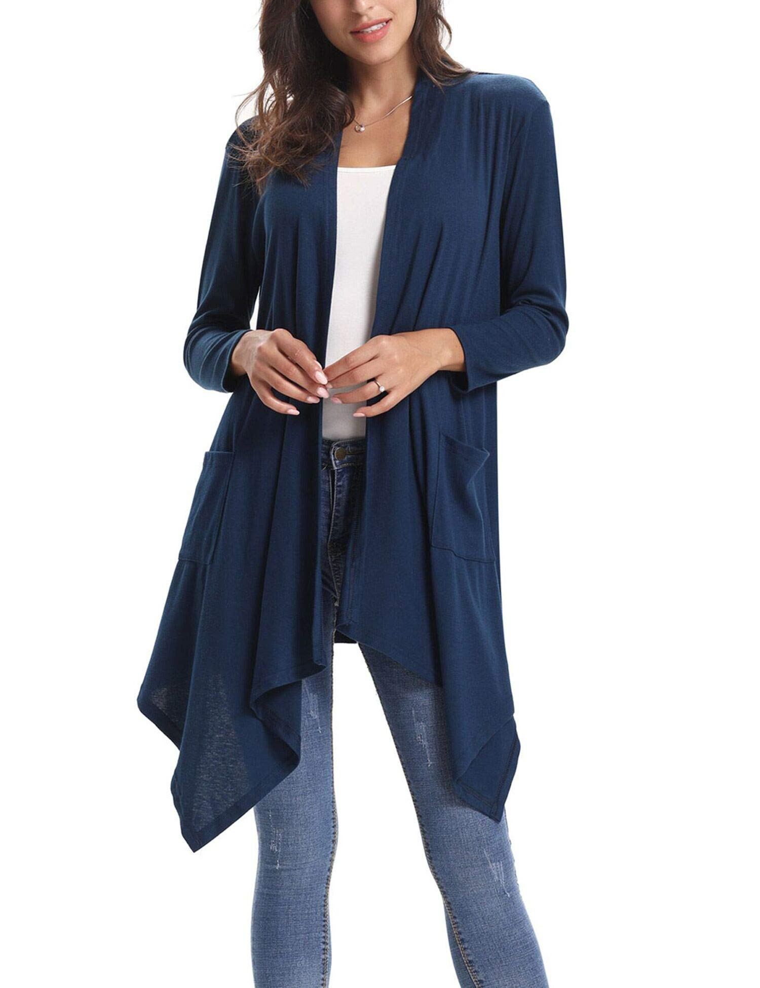 Abollria Long Sleeve Women Asymmetric Draped Open Front Cardigan Sweater