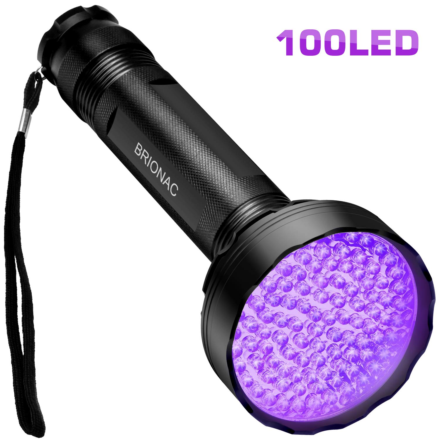 BRIONAC UV Black Light Flashlight, 100 LED 395nm Wavelength for Pet (Cat/Dog) Urine Detector, Dry Stains, Bed Bug and Scorpion with 6AAA Batteries (Not Included), Matching with Pet Odor Eliminator by BRIONAC