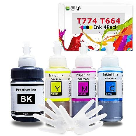 Printers Jack Refill Ink Bottle for Epson T774 T664 Compatible EcoTank Ink  Bottle for Epson Expression ET-2650 ET-2550 ET-2600 ET-2500 ET-3600