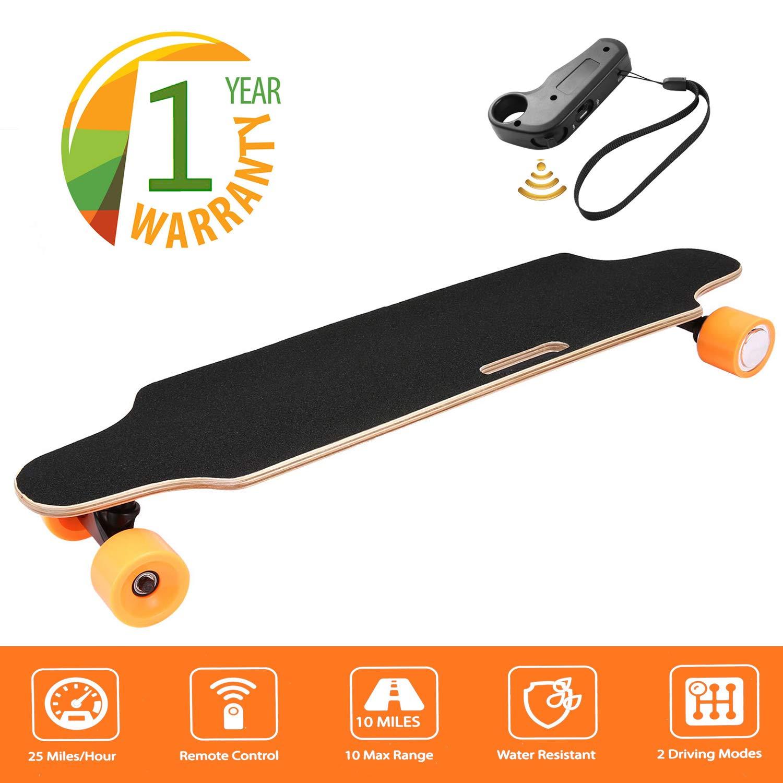 35.4'' Electric Skateboard 10km Range 250W Hub-Motor 2.9'' Wheels Longboard with Remote Controller Waterproof IP54 (Orange)