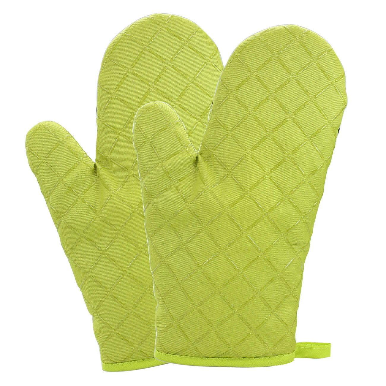 OVOS Cotton Oven Mitts Flame Retardant Quilted Silicone Coating Heat Resistant Potholder Gloves Microwave Oven Glove for Kitchen BBQ (Yellow)
