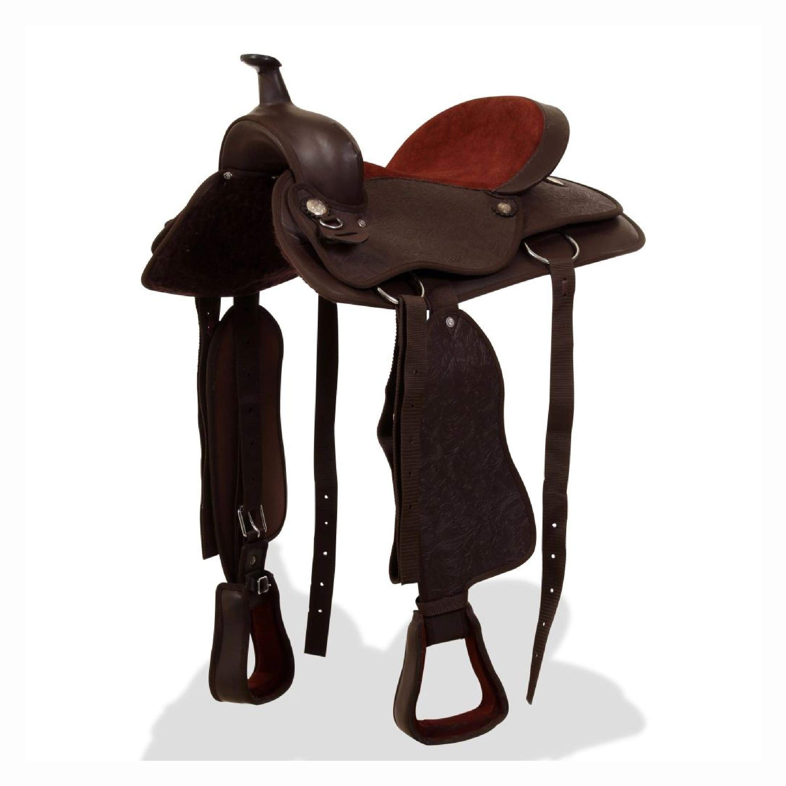 Saddle, Western Saddle, Headstall&Breast Collar Real Leather 15'' Brown