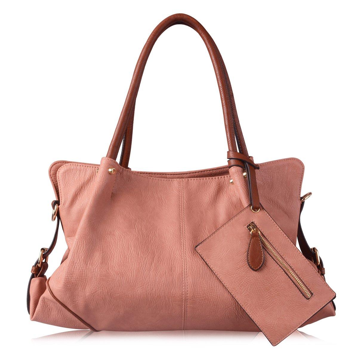 AB Earth 3 Pieces Women Hobo Handbag PU Leather Totes Matching Wallet Satchel Shoulder Bag, M898 (Pink)