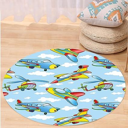 VROSELV Custom carpetkids decoración Dibujos Animados Aviones y helicópteros en el Aire Entre Nubes guardería Juguete