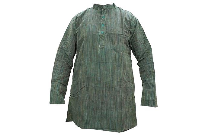 Mens Kurta Cotton Yoga Shirt Mandarin Collar Festive Ethnic ...