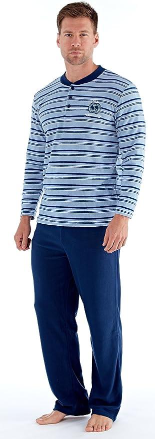 Suave pijama polar para hombre de manga larga y pantalón largo, agradable microfelpa. En varias tallas y colores
