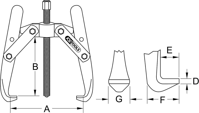 50-500mm tama/ño: 50-500 mm KS Tools 620.3608 Extractor universal de 2 brazos