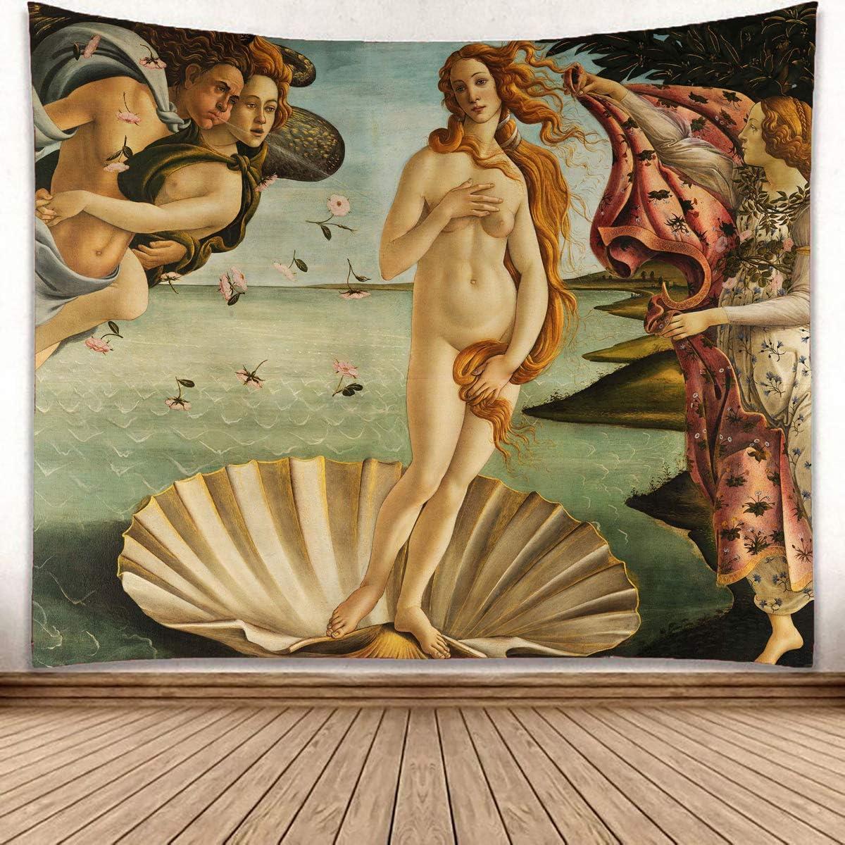 LedBack Birth of Venus Masters of Italian Art Tapestry Wall Hanging Art Decor Renaissance Awakening of Venus and Angels Wall Tapestry Artwork Wall Decor for Living Room Bedroom