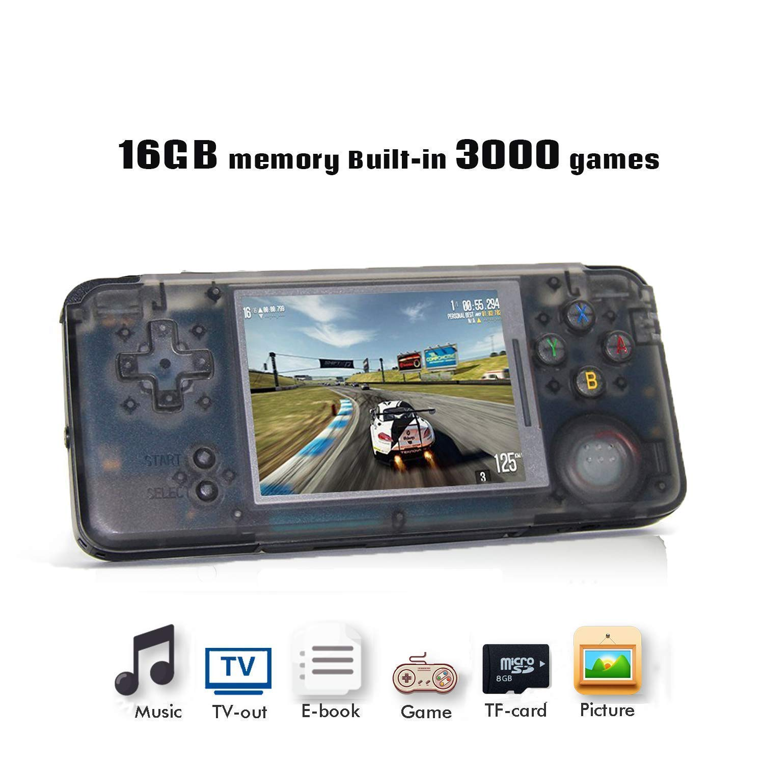 BAORUITENG Handheld Game Console, Retro Game Console 3 Inch HD Screen 3000 Classic Game Console ,Portable Video Game Great Gift for Kids (Black)