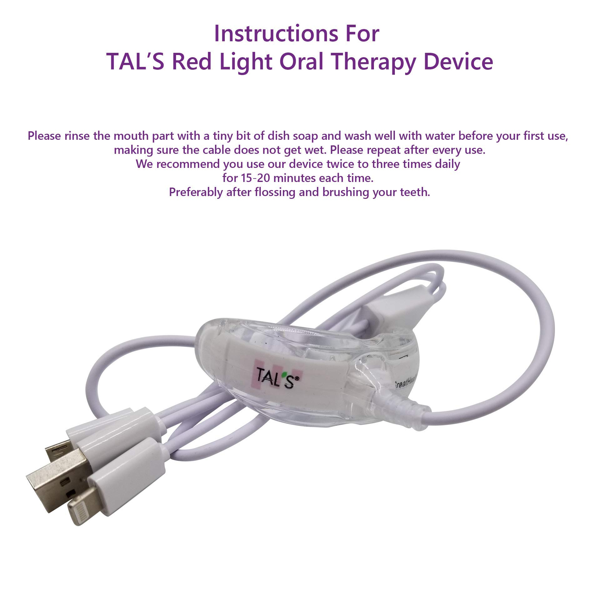 TAL'S Red Light Oral Health Dental Device | Red Light Therapy for Immediate Relief of Tooth Pain Gum Sensitivity | Promotes Healing of Tissue & Bone | Reduces Bacteria, Inflammation and Receding Gums by TAL'S (Image #7)