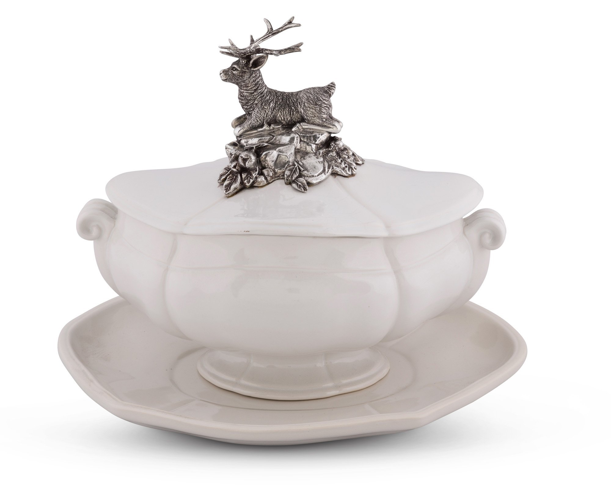 Vagabond House Pewter Metal Stag Stoneware Soup Tureen with Tray 13'' Long x 9'' Wide
