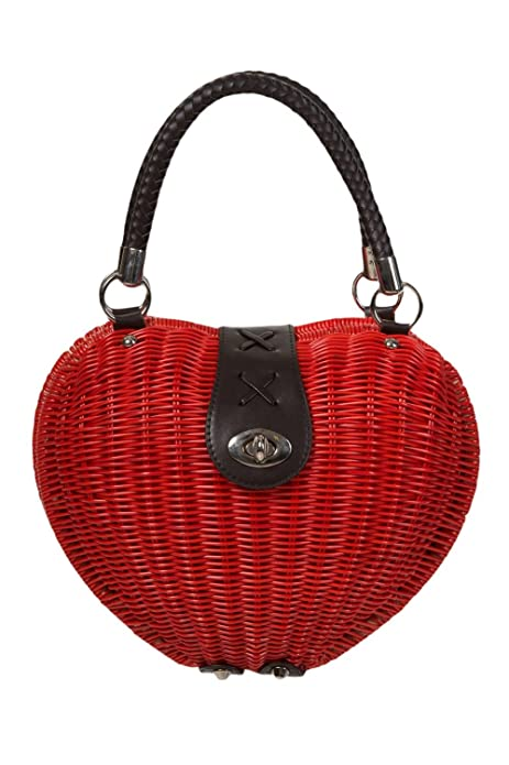 1950s Handbags, Purses, and Evening Bag Styles Banned Retro Pinup Lolita Red Heart Shaped Wicker basket Handbag $45.00 AT vintagedancer.com