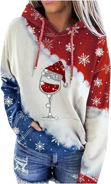 Womens Long Sleeve Hoodie Sweatshirt Christmas Plaid Contrast Color Tunic Tops Winter Warm Sweatshirt