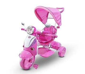 MWS LT 854 Triciclo con Pedales para bebés con 3 Canciones integradas en Capota (Rosa)