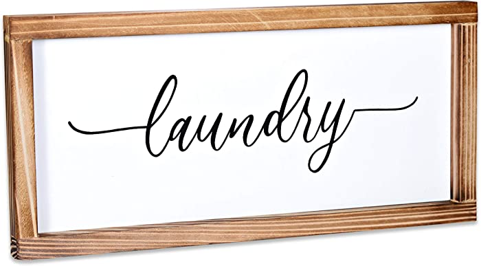 Laundry Sign - Rustic Farmhouse Decor For The Home Sign - Wall Decorations For Living Room, Modern Farmhouse Wall Decor, Laundry Signs For Laundry Room Decor with Solid Wood Frame - 8x17 Inch