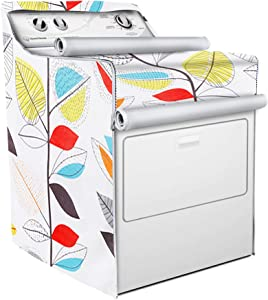Washing Machine Cover,Front Load Machine Cover,With Zipper Design for Easy Use,Waterproof Dust-proof Moderately Sunscreen(W29D28H40in,Colorful Leaves)