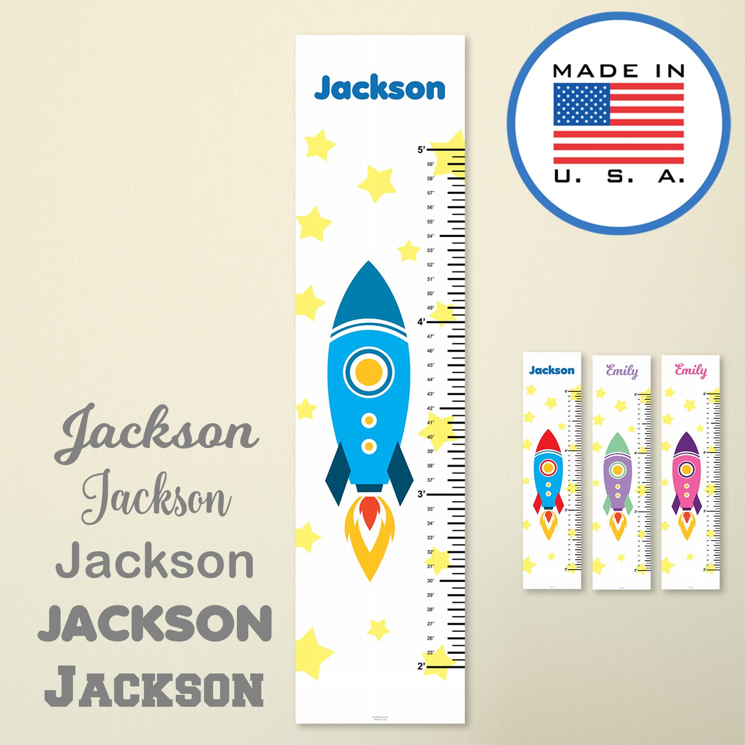 321Done Growth Chart for Baby, Kids Hanging Height Ruler, Cartoon Rocket Stars, Premium Vinyl Nursery Wall Decor Rocketship Blue Red - Made in USA NPGC1004-A