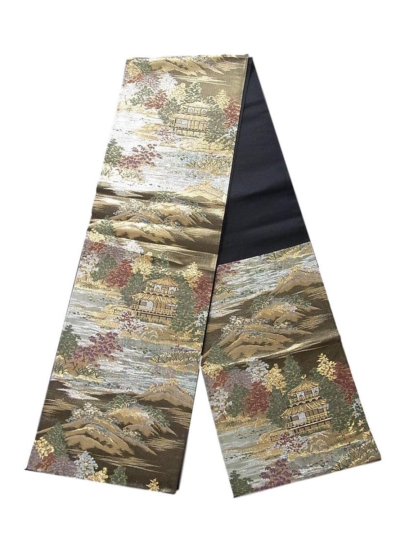 リサイクル 袋帯  日本百景 金閣寺 正絹 六通 B07FDDCBWV  -