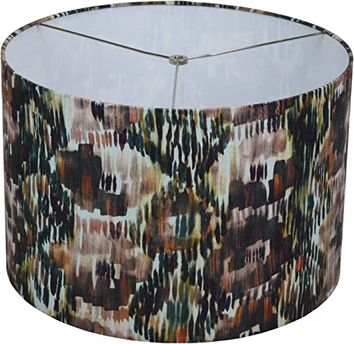 FenchelShades.com 18 Top Diameter x 18 Bottom Diameter 12 Height Cylinder Drum Lampshade USA Made Multi-Colored