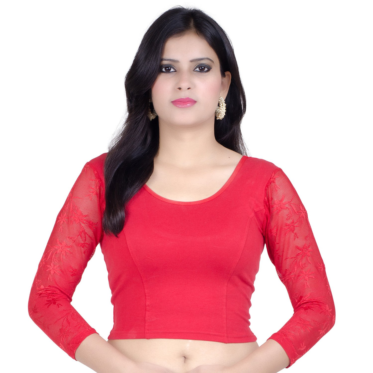 Chandrakala Womens Stretchable Readymade Red Saree Blouse Crop Top Choli (B101),Red-1,Free Size