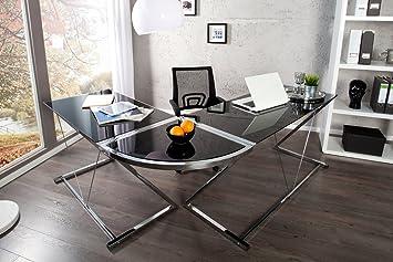 Exklusiver Design Eck Schreibtisch BIG DEAL Glas Schwarz