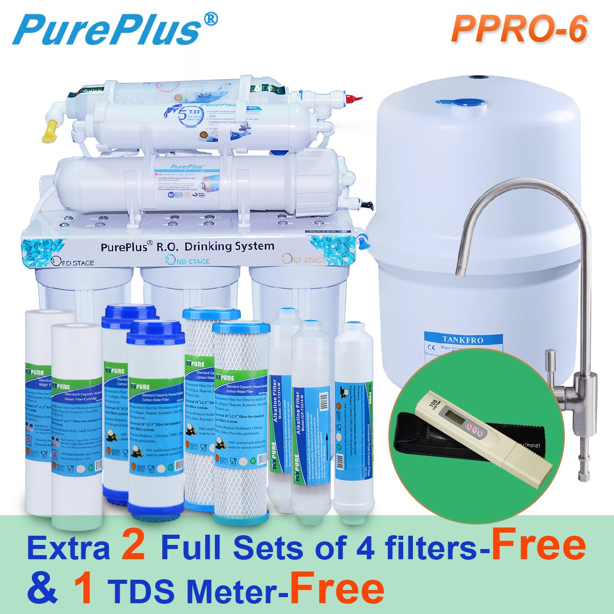 Pureplus PPRO-6 6-Stage Reverse Osmosis Drinking Water Filter System-80 GDP Plus extra 2 full sets of 4 filters&1 TDS Meter by PURE PLUS