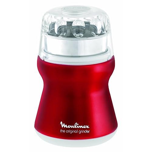 Moulinex AR1105 Kaffeemühle Mit Edelstahlbehälter, Red  Ruby/metallic Rot/weiß