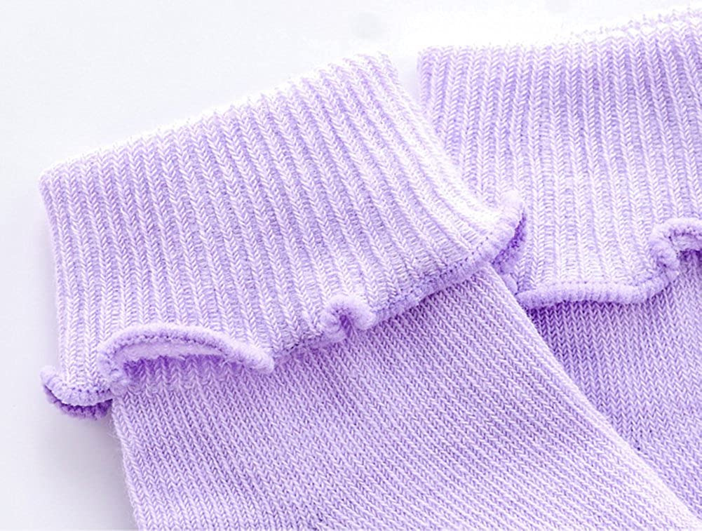 CozyWay Baby Girls Socks 6//12 Pack Ruffle Ripple Edge Turn Cuff Ankle Socks Toddlers Infants 12 months