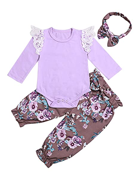 9a340c2cf354 3Pcs Newborn Toddler Baby Girl Romper Jumpsuit Lace Long Sleeve Bodysuit  Floral Pants Outfits with Headband