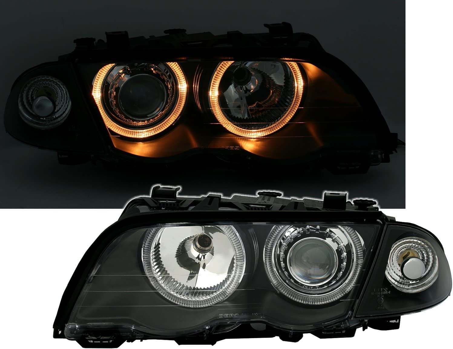 Ad Tuning Angel Eyes Scheinwerfer Set Klarglas Schwarz Inkl Frontblinker Auto