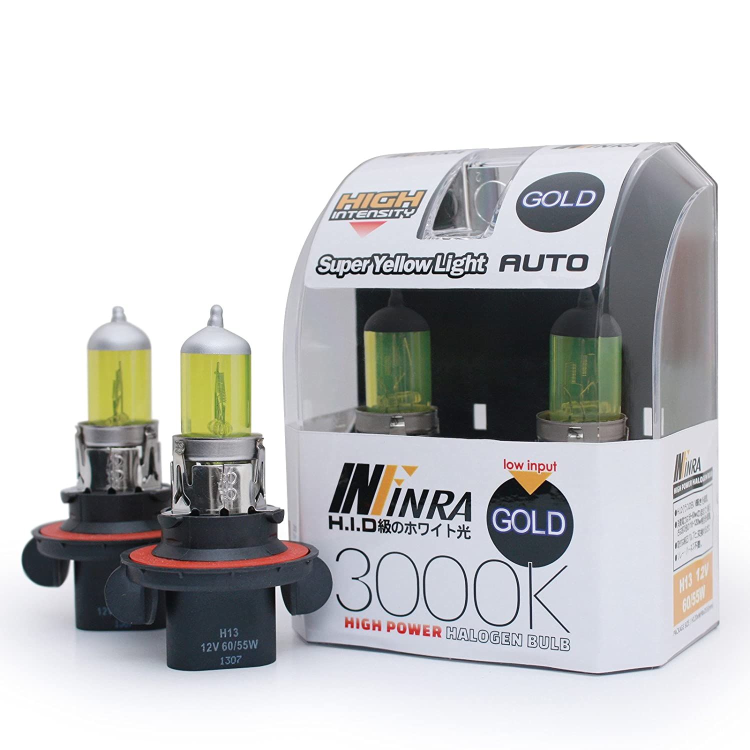 Infinra H13 (9008) 60/55W 3000K Super Yellow Xenon Halogen Headlight Bulbs (Pack of 2)