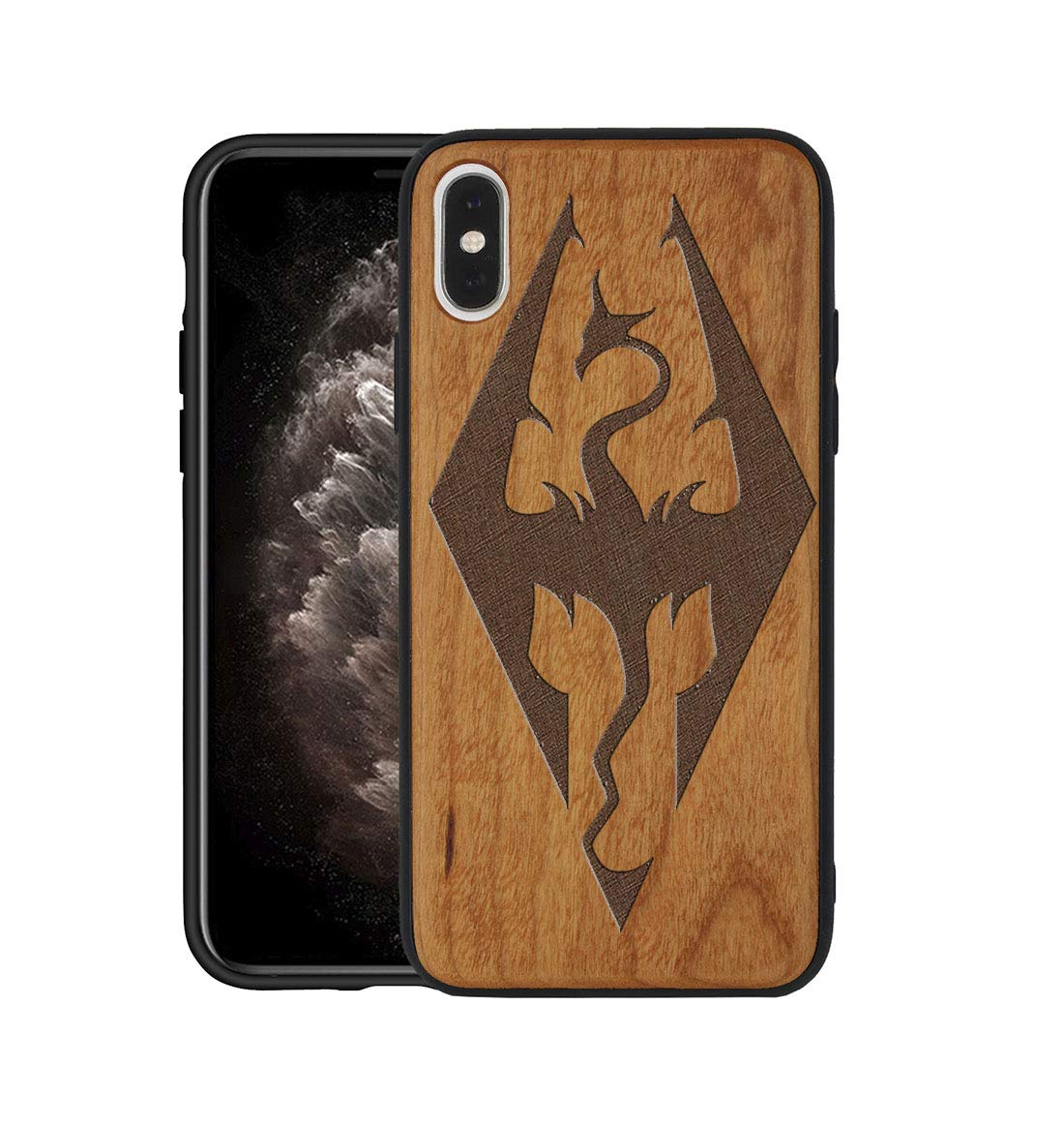 Customized Skyrim Logo Wood iPhone X Case Real Wood Engraving Soft Rubber Protective For iPhone X Case