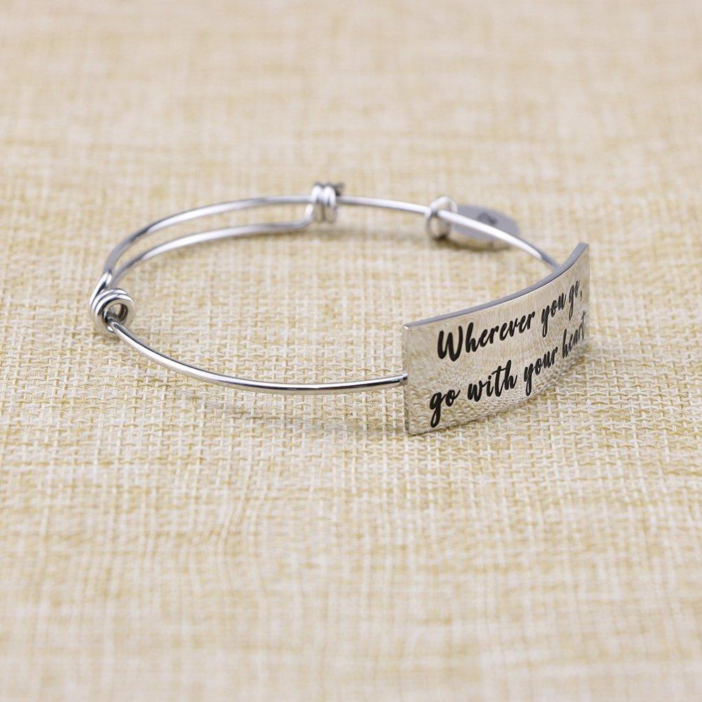 Yiyang Graduation Gift Inspirational Expandable Bracelets Bangle for Teen Girls