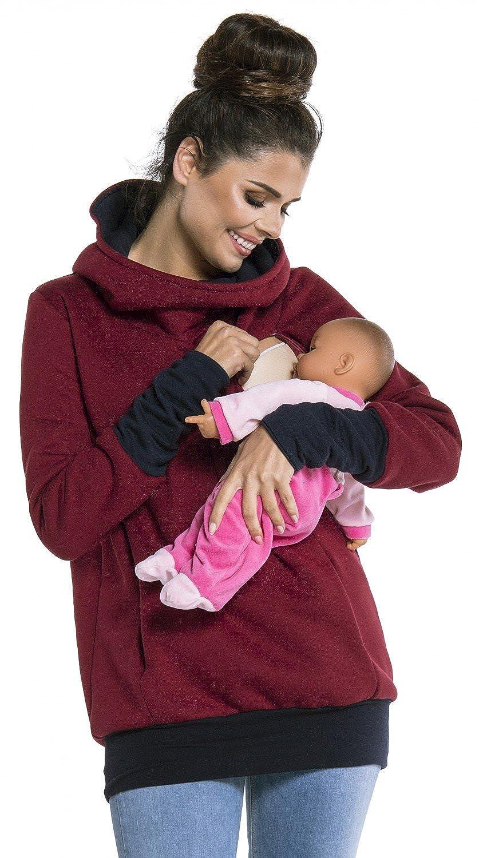 330c femme Sweat-shirt allaitement maternit/é d/étails contraste Zeta Ville