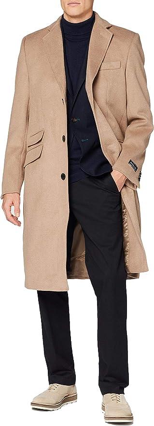 Abrigo para hombre de lana de camello cálido de invierno mod de un solo pecho Cromby abrigo con forro dorado satinado