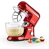 Klarstein Bella Rossa 2G • Küchenmaschine • Rührmaschine • Knetmaschine • 1200 W • 5,2 Liter • 6-stufige Geschwindigkeit • planetarisches Rührsystem • Glasschüssel • Schnellspannsystem • Druckguss Rühr- und Knethaken • Schneebesen • rot