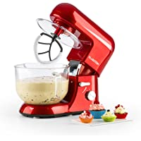 KLARSTEIN Bella Rossa 2g, Tilt-Head Electric Stand Mixer, Dough Hook, Flat Beater, Wire Whip, 650 Watts, 1.1 HP, 5.5 qt Glass Bowl, Planetary Mixing Action, 6 Speeds, Multifunctional, Red