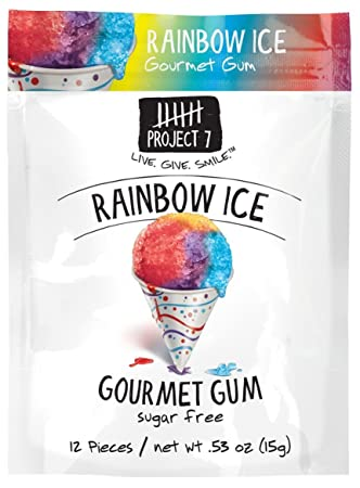 Amazoncom Project 7 Sugar Free Gum Rainbow Ice 12 Pouches 144