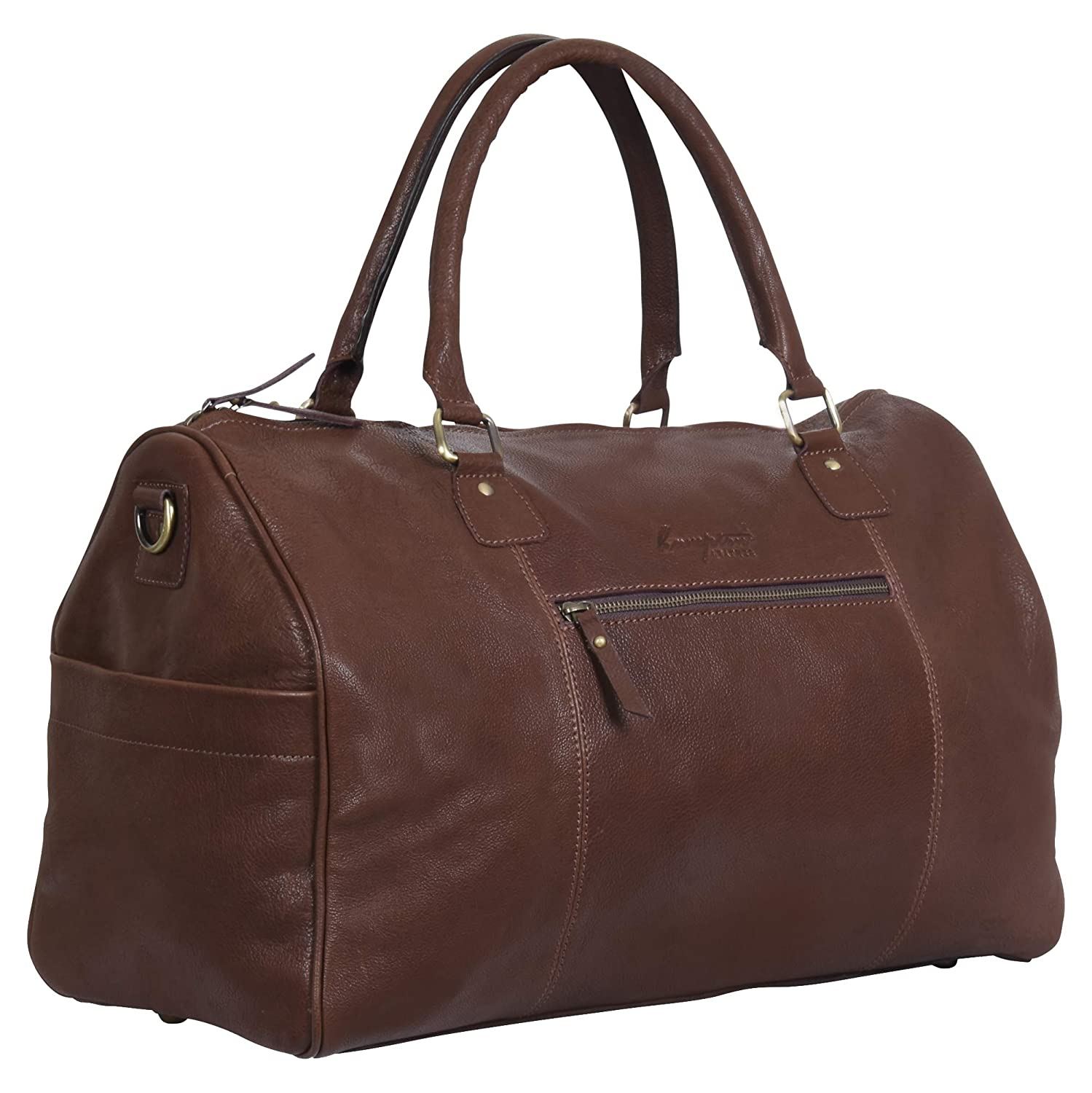 Tan Genuine Duffle Leather Weekender Travel Gym Bag