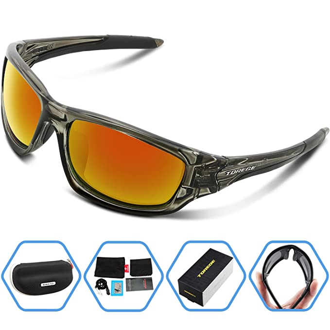 07852f06f2 Torege Polarized Sports Sunglasses For Man Women Cycling Running Fishing  Golf TR90 Unbreakable Frame TR011 (