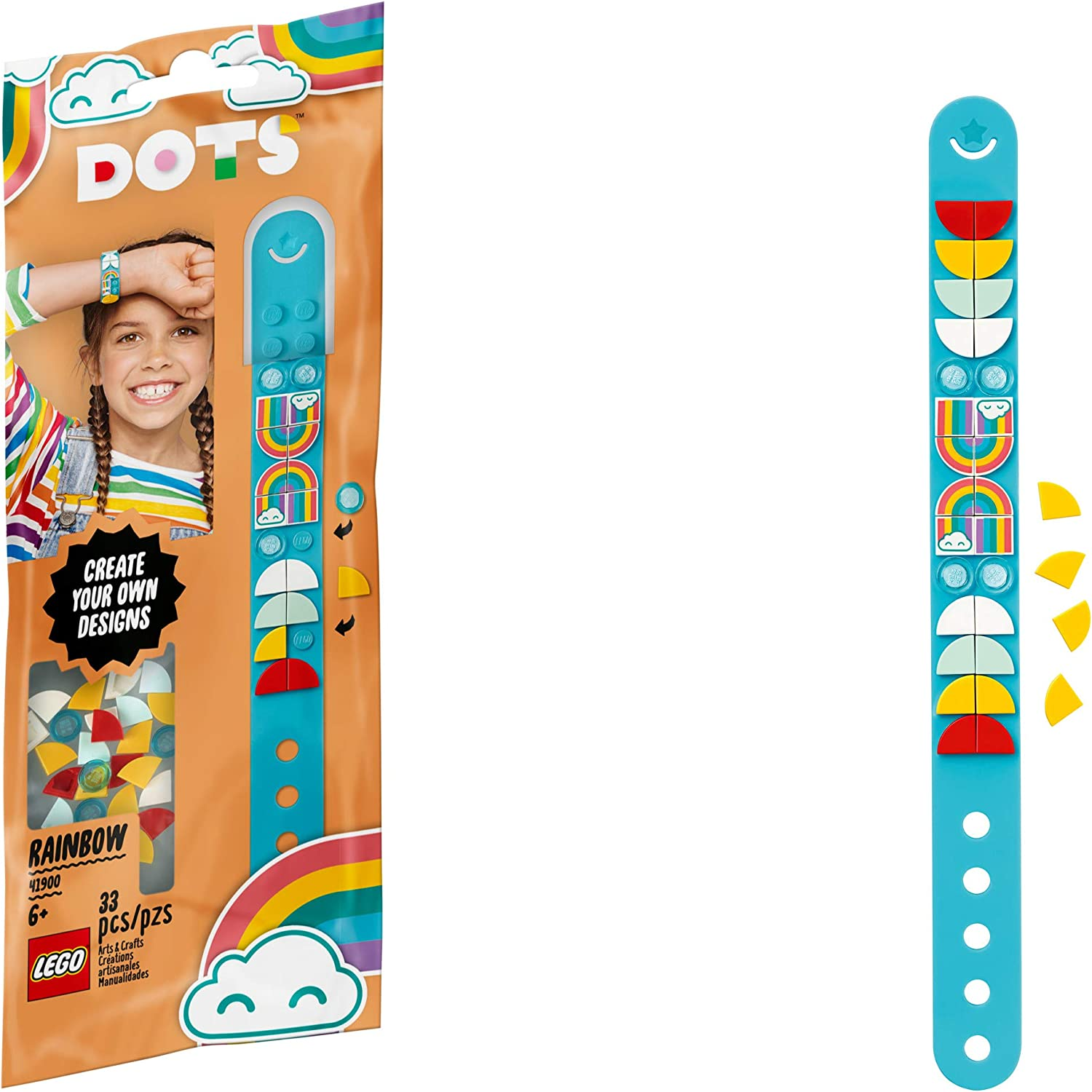 LEGO DOTS Rainbow Bracelet 41900 DIY Craft Bracelet Making Kit; A Fun Craft kit for Kids who Like Making Creative Jewelry, That Also Makes a Cool Holiday or Birthday Gift Toy, New 2020 (33 Pieces): Toys & Games