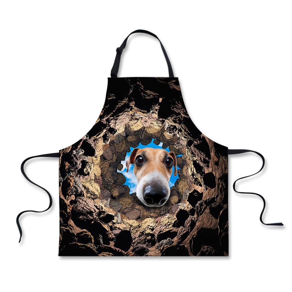 ブラックエプロンストーン犬印刷、リネンエプロンキッチンメンズシェフ料理BBQグリル ブラック C3601R_coz  Dog1 B075NDYPDD