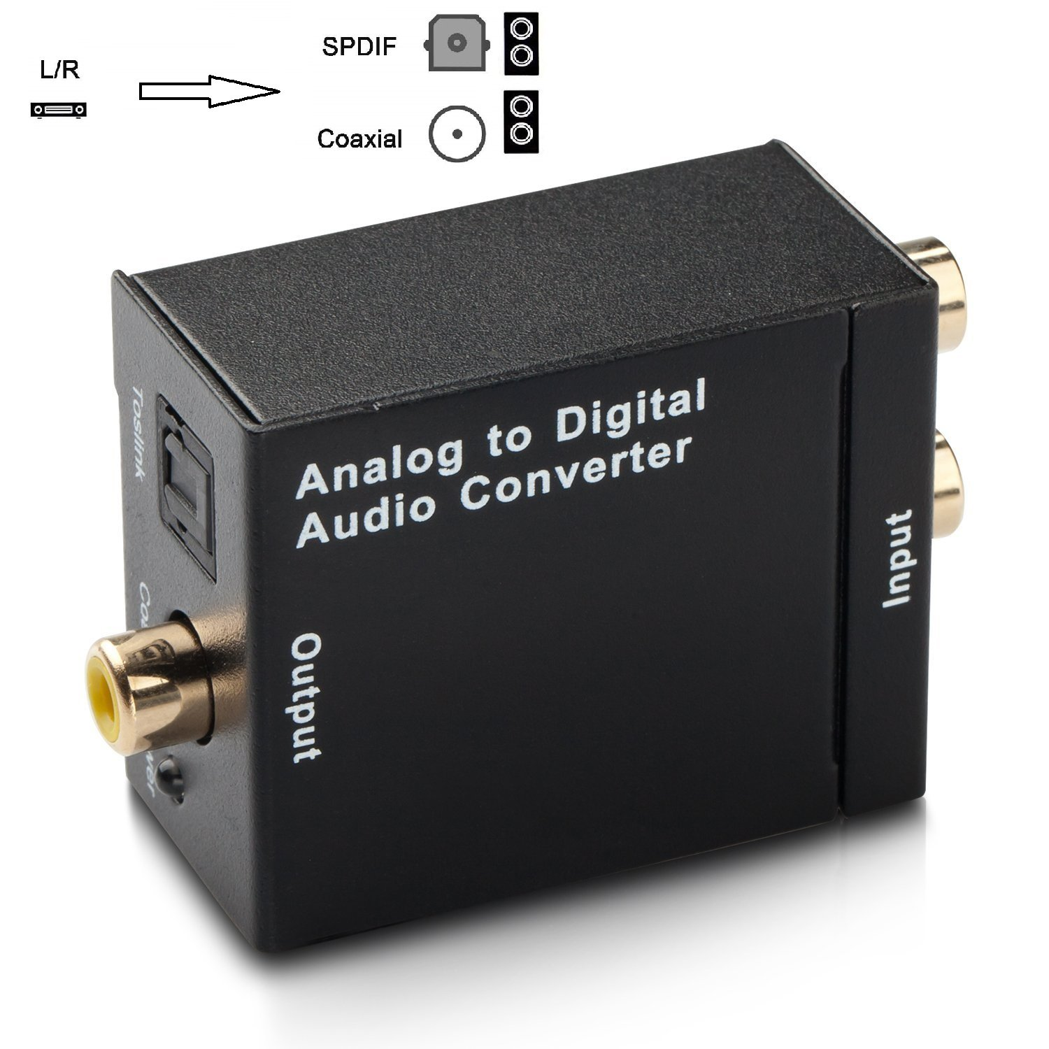 Cingk RCA L/R Analog To Digital Optical SPDIF Coaxial Audio Converter Adapter with Toslink Cable and Power Adapter