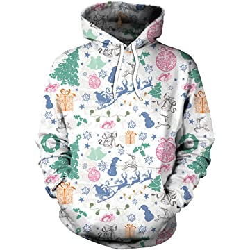 63829ce975d Fashspo Unisex Realistic 3D Print Casual Christmas Pullover Hooded Hoodies  Sweatshirt with Pocket